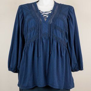 Roaman's Blouse Dark Blue Peasant Top Boho Hippie
